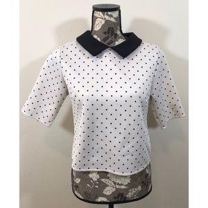 NWOT ZARA white shirt with black polka dots